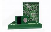 Khay gỗ in hoa văn hình chữ nhật viền xanh