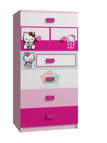 Tủ quần áo trẻ Em hình Hello Kitty (60x50x120 cm)